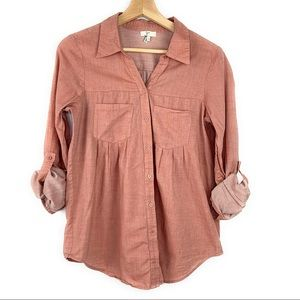 Joie Roll Tab Heathered Pink Pull Over Blouse